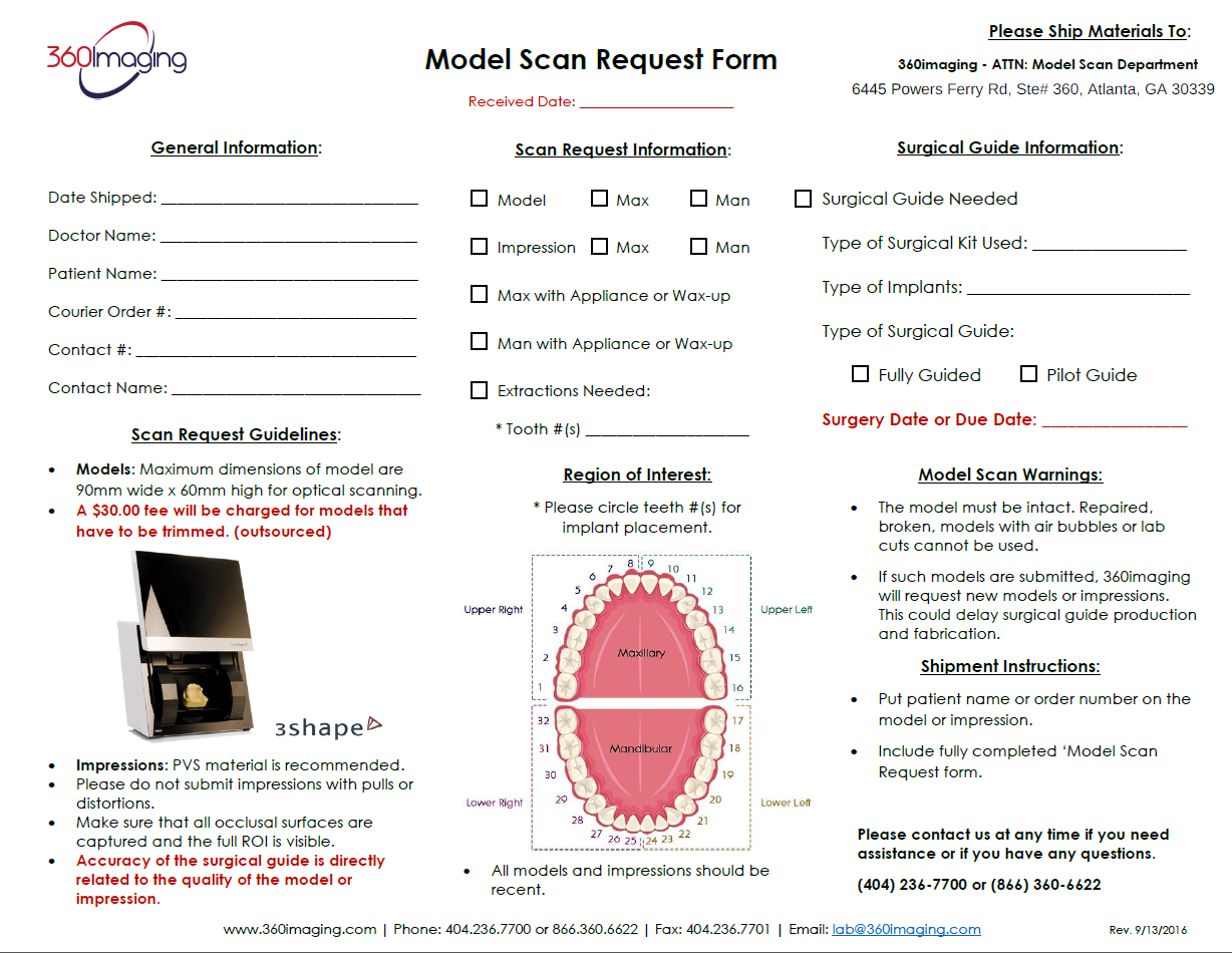 Model Scan request Form